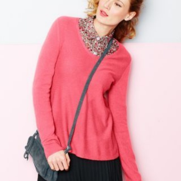 Garnet Hill Pink Easy Modern Cashmere Sweater